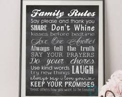 Family House Rules House Rules Poster Etsy