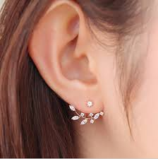 earring studs hot leaf ear jacket earrings gold color back cuff stud