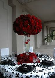 Black And Silver Centerpieces by Shutterbooth San Diego Wedding Modern Elegance Red White And