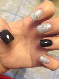 nice black nails glitter nails acrylic nails nail designs simple