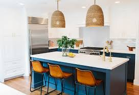 kitchen cabinets white top blue bottom before and after two toned kitchen reno home bunch