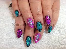 gel nails black nails pink and turqoise nail art foil nail art
