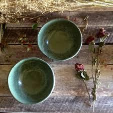 ruth fugar pottery artist handmade rustic bowls in green drippy