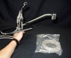satin nickel kohler single handle kitchen faucet centerset two
