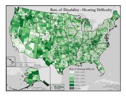 University Of Montana Map Rates Of Hearing Difficulty Disability In America Map Series