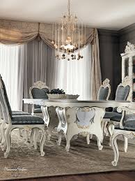 dining room venezia style with floral inlays and carves dining