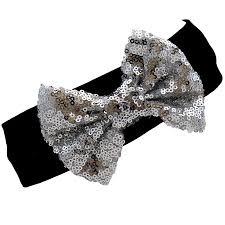 silver sequin bow headband