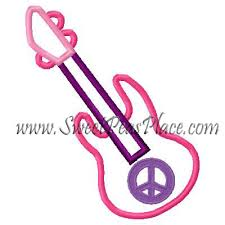 misc designs guitar with peace sign applique embroidery design