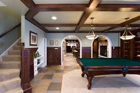 basement tile floor basement traditional with arches coffered