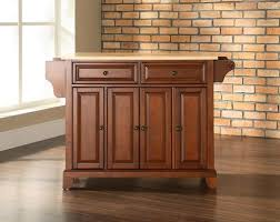 the crosley newport kitchen island with natural wood top