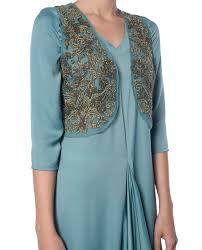 sage green drape with short koti platinoir