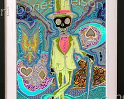 Masonic Home Decor Trippy Skull Poster Psychedelic Art Print Neon Op Art 70s Day