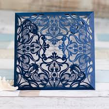 wholesale wedding invitations navy blue floral laser cut wholesale wedding invitations wpl0083