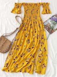yellow dress floral slit smocked shoulder midi dress yellow midi dresses s