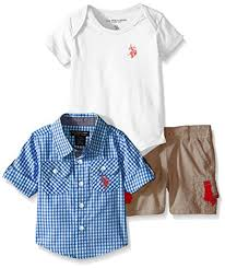 u s polo assn baby boys u0027 3 piece gingham check sport shirt v