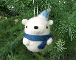 Polar Bear Christmas Decorations Canada by Needle Felted Animals Ornaments And Cute By Wildwhimsywoolies