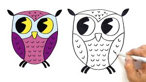 how to draw a cute cartoon owl for kids very easy hde youtube