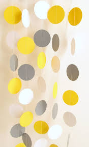 yellow and gray baby shower decorations wedding garland yellow gray white circle paper garland 10 ft