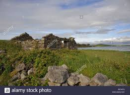 stone ruins of an irish house on clew bay near westport county