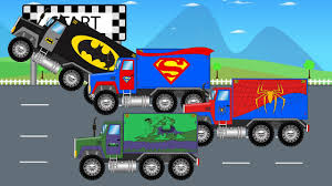 kids monster truck video superheroes trucks racing together monster trucks for children