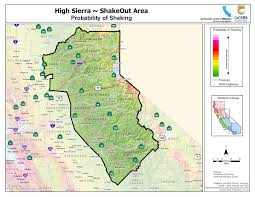 Oregon Earthquake Map by Great Shakeout Earthquake Drills High Sierra Area