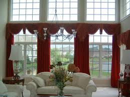 astonishing curtain ideas for large windows design with bow window astonishing curtain ideas for large windows design with bow window and red color wide