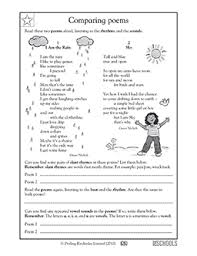 5th grade reading worksheets poems comparing greatschools