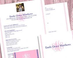 sorority resume template etsy