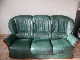 cuir vert 2 fauteuils