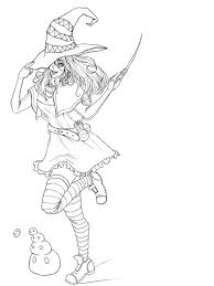 halloween witch line art by kimikiwi48 on deviantart
