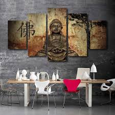 buddha art 5 piece canvas teevogue