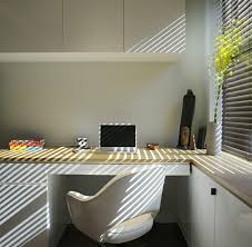 fascinating hi tech office design with white wooden computer desk