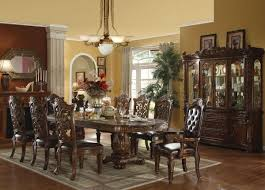 Printed Chairs by Formal Dining Room Decor Dark Brown Varnish Wood Long Dining Table