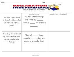 Declaration Of Independence Worksheet Answers Of Independence Graphic Organizers Assessments Answer