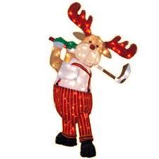 Christmas Moose Home Decor 150 Light Tinsel Moose Playing Golf