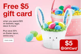 online easter baskets target get a free 5 target gift card when you spend 25 on easter