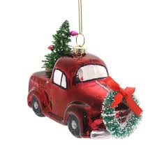 ornaments vintage truck with tree glass ornament