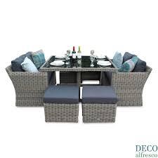 PC High Back Sofa Cube Rattan Furniture Set Natural DECO Alfresco - Rattan furniture set