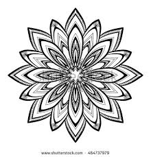 mandala black white decorative element coloring stock vector