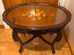 removable tray top table vintage oval wood side end accent antique tea table w removable