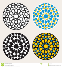 set of four vector islamic ornamental rosette circle design