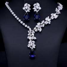 zircon necklace sets images Wedding bridal jewellery set aaa clear cubic zircon jewelry sets jpg