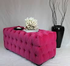 sold can replicate large fuchsia tufted ottoman with black