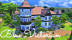 sims 4 house build blue victorian mansion youtube