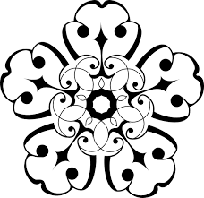 white and black ornamental flower clip at clker vector