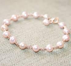 pink pearls bracelet images Pink pearl bracelet 14k rose gold filled genuine pearls june jpg