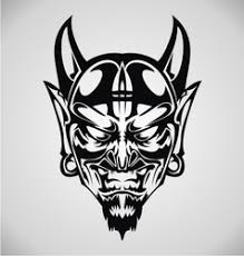 devil head tattoo design royalty free vector image