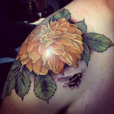 yellow flower and bee tattoo by alice kendall tattoomagz