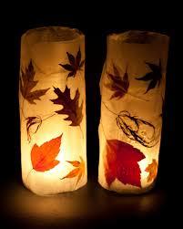 Fun Fall Kids Crafts - making autumn leaf lanterns window sill autumn and craft