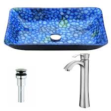 anzzi voce series deco glass vessel sink in lustrous blue ls az040